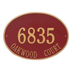 Address Plaque 19 x 14 inch Estate Wall Hawthorne Oval Aluminum- Two Line