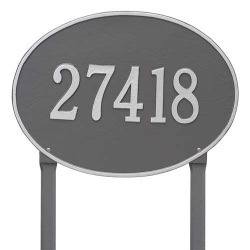 Address Plaque 19 x 14 inch Estate Lawn Hawthorne Oval Aluminum- One Line