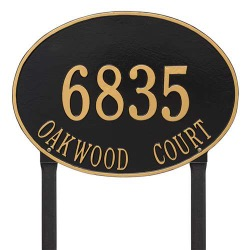 Address Plaque 19 x 14 inch Estate Lawn Hawthorne Oval Aluminum- Two Line