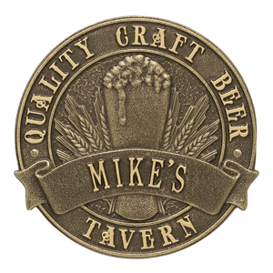 Quality Craft Beer Tavern Round Plaque, Standard Wall 1-line