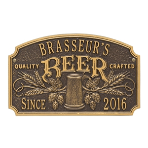 Quality Crafted Beer Arch Plaque /w/ Since Date, Standard Wall 2-line