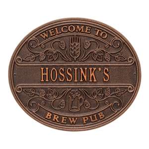 Brew Pub Welcome Plaque, Standard Wall 1-line