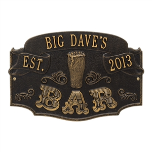 Established Bar Plaque, Standard Wall 1-line