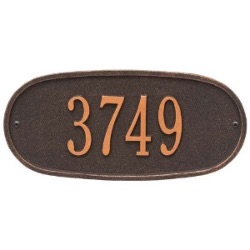 Address Plaque 12 x 5.5 inch Oval Standard Wall Aluminum- One Line