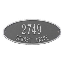 Address Plaque 17.5 x 7.75 inch Standard Wall Aluminum- Madison Oval- Two Line