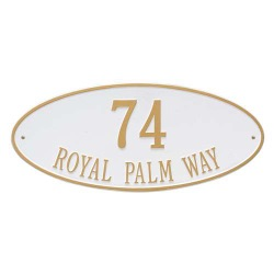 Address Plaque 24.5 x 10.375 inch Estate Wall Madison Oval Aluminum- Two Line