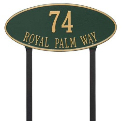 Address Plaque 24.5 x 10.375 inch Estate Lawn Madison Oval Aluminum- Two Line