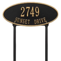Address Plaque 17.5 x 7.75 inch Standard Lawn Aluminum- Madison Oval- Two Line