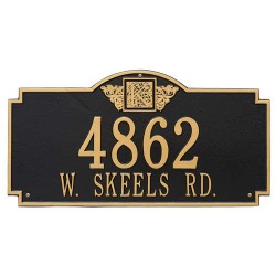Address Plaque 23.25 x 12.25 inch Monogram Estate Wall Aluminum- Two Line