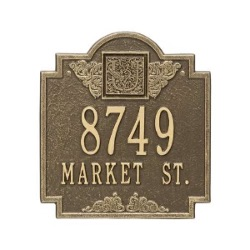 Address Plaque 10.75 x 11.75 inch Monogram Standard Wall Aluminum- Two Line