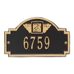 Address Plaque 8.25 x 5 inch Monogram Petite Wall Aluminum- One Line
