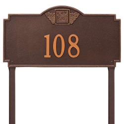 Address Plaque 23.25 x 12.25 inch Monogram Estate Lawn Aluminum- One Line