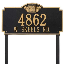 Address Plaque 23.25 x 12.25 inch Monogram Estate Lawn Aluminum- Two Line