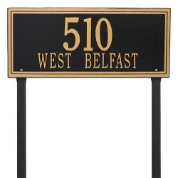 Address Plaque 23.25 x 9.5 inch Estate Lawn Aluminum- Two Line