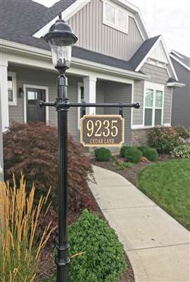 Address Plaque Post with Lantern