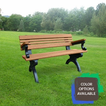 4ft Cambridge Recycled Park Bench with arms