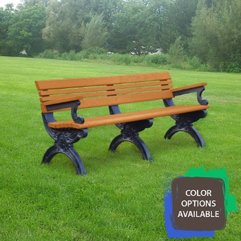 6ft Cambridge Recycled Park Bench with arms
