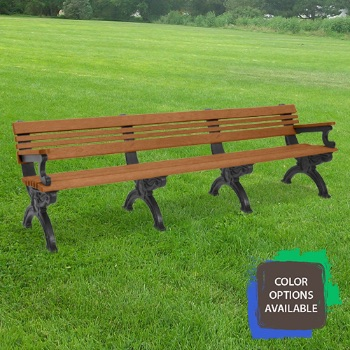 8ft Cambridge Recycled Park Bench with arms