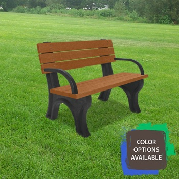 4ft Deluxe Recycled Park Bench with arms