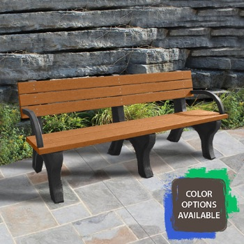 6ft Deluxe Recycled Park Bench with arms