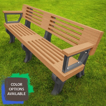 6ft Elite Recycled Park Bench with arms
