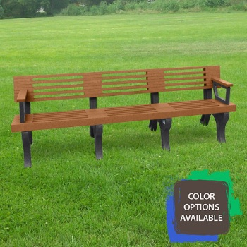 8ft Elite Recycled Park Bench with arms
