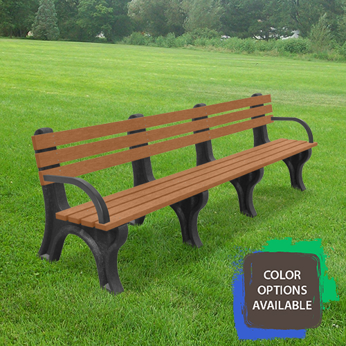8ft Economizer Recycled Park Bench with arms