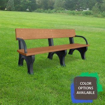 6ft Landmark Recycled Park Bench with arms