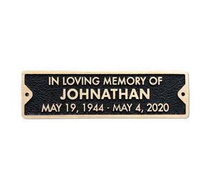 Bronze Memorial Plaque for Bench - 10 x 2.75 inches - 3 line