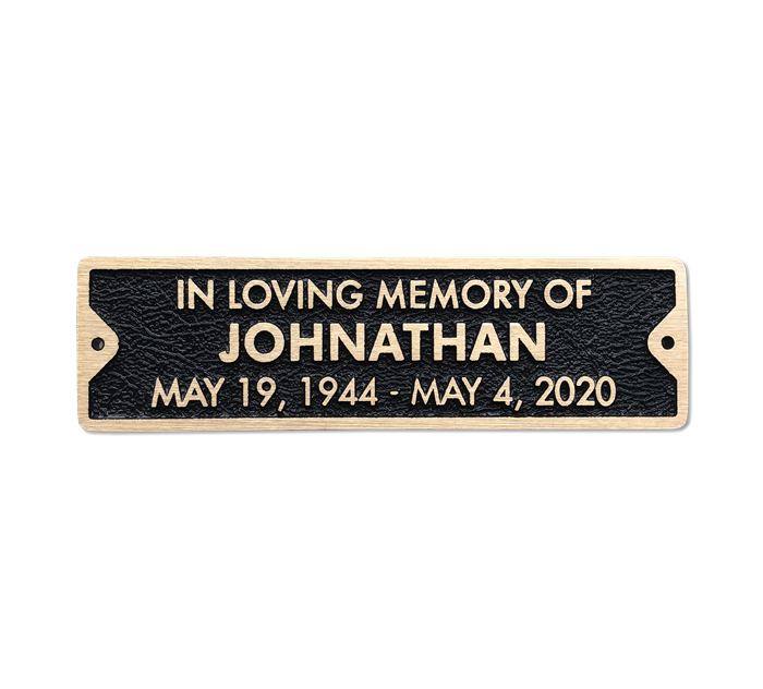 Bronze Memorial Plaque For Bench 10 X 2 75 Inches 3 Line