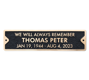 Bronze Memorial Plaque for Bench - 12 x 3 inches - 3 line