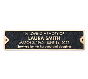 Bronze Memorial Plaque for Bench - 12 x 3 inches - 4 line