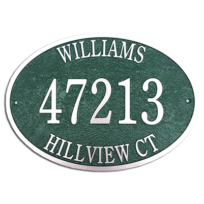 "14"" x 10"" Oval Cast Aluminum Address Plaque"