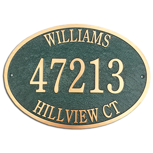 "Address Plaque 14"" x 10"" Oval- Cast Bronze"