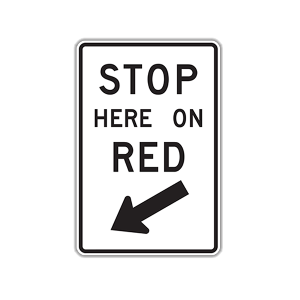 "24"" x 36"" Stop Here on Red"