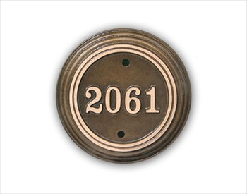 "Room Number Sign 5"" Diameter Circle - Cast Bronze"