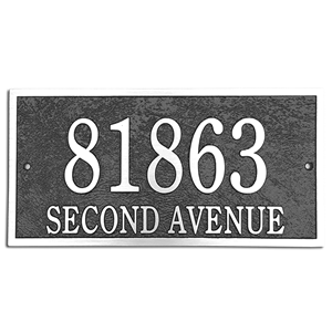 "Address Plaque 14"" x 7"" Rectangle- Cast Aluminum"