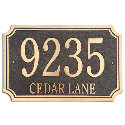 "Address Plaque 14"" x 9"" Scalloped- Cast Bronze"