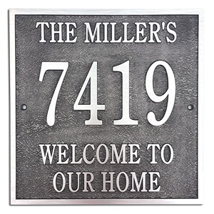 "Address Plaque 12"" x 12"" Square- Cast Aluminum"