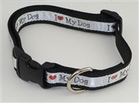 "1"" Adj. Large (16.5""-25.5"") Dog Collar Black W/ Love Dog Ribbon Overlay"