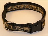 "1"" Adj. Large (16.5""-25.5"") Dog Collar Black W/ Khaki Camo Ribbon Overlay"