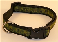 "1"" Adj. Large (16.5""-25.5"") Dog Collar Black W/ Olive Camo Ribbon Overlay"