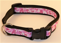 "1"" Adj. Large (16.5""-25.5"") Dog Collar Black W/ Pink Ribbon Overlay"