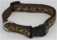 "1"" Adj. Large (16.5""-25.5"") Dog Collar BROWN W/ Khaki Camo Ribbon Overlay"