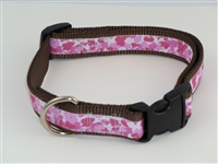 "1"" Adj. Large (16.5""-25.5"") Dog Collar Brown W/ Pink Ribbon Overlay"