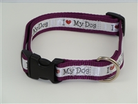 "1"" Adj. Large (16.5""-25.5"") Dog Collar Burgundy W/ Love Dog Ribbon Overlay"