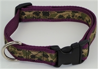 "1"" Adj. Large (16.5""-25.5"") Dog Collar Burgundy W/ Khaki Camo Ribbon Overlay"