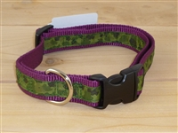 "1"" Adj. Large (16.5""-25.5"") Dog Collar Burgundy W/ Olive Camo Ribbon Overlay"