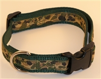"1"" Adj. Large (16.5""-25.5"") Dog Collar Dark Green W/ Khaki Camo Ribbon Overlay"
