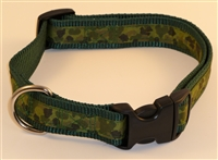 "1"" Adj. Large (16.5""-25.5"") Dog Collar Dark Green W/ Camo Ribbon Overlay"